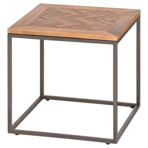 RUSTIC COUNTRY SOLID ACACIA WOOD METAL SIDE END LAMP TABLE (H20857)